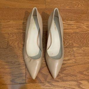Nine West Nude leather kitten heels